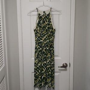 Leaf print halterneck midi dress